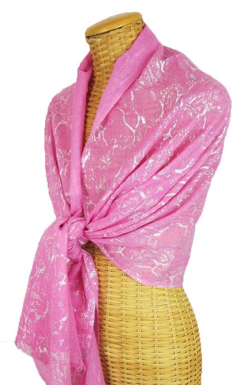 5d0e08ec21 Pink Silver Foil Sheer Wrap — Pam's Pashminas & Exotic Scarves