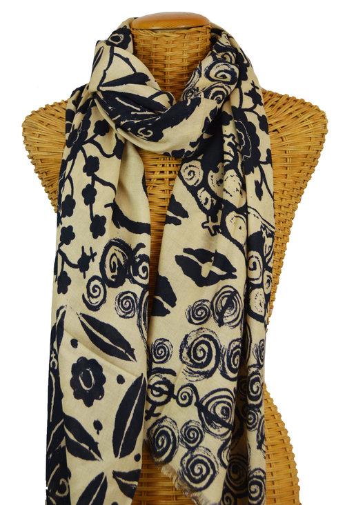 d10fb7c50 Black & Tan Female Flower Power Scarf — Pam's Pashminas & Exotic Scarves