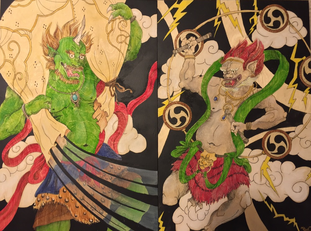 Fujin and Raijin Woodblock painting