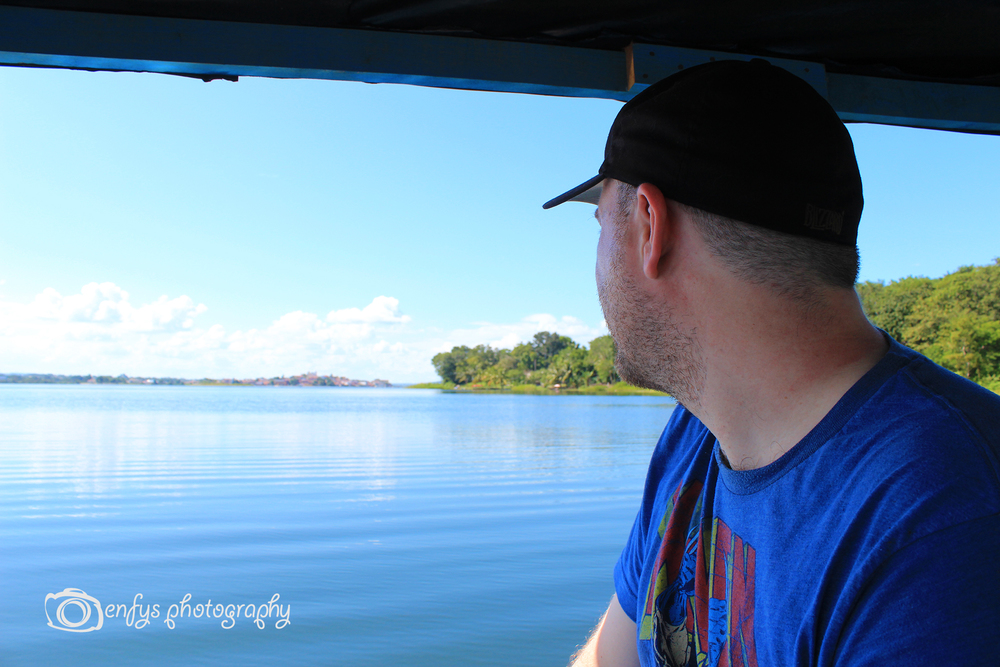 Steve and the Lake - You can see Flores in the distance. Lake Peten Itza - Flores, Guatemala