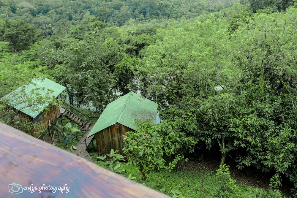 View of some of the river cabins  -  Utopia Eco Hotel- Alta Verapaz, Guatemala