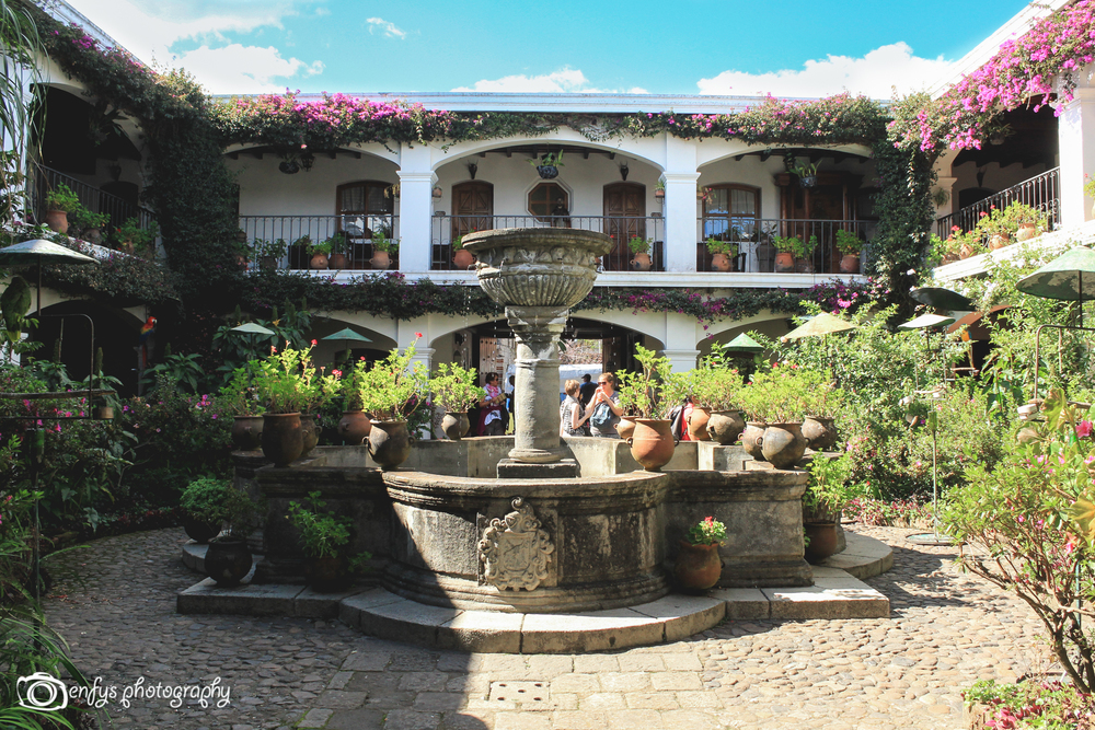 Courtyard at Santo Tomas Hotel (Click to enlarge) -Chichicastenango, Guatemala
