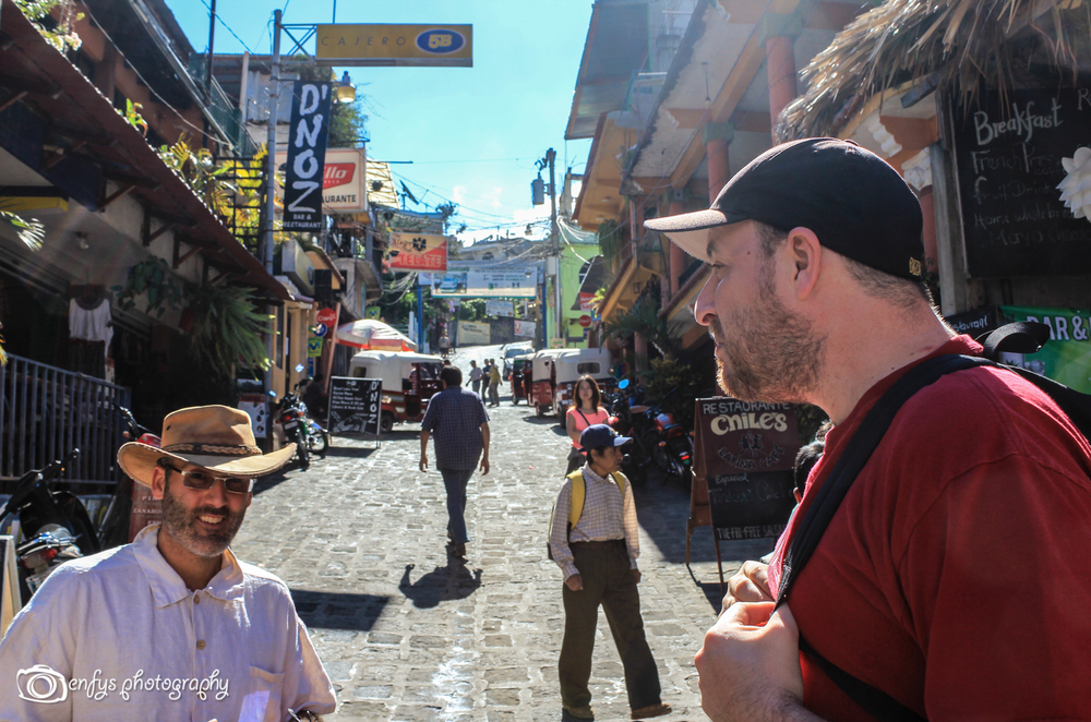 Doug and Steve hanging out on the main street in San Pedro  -San Pedro La Laguna, Guatemala