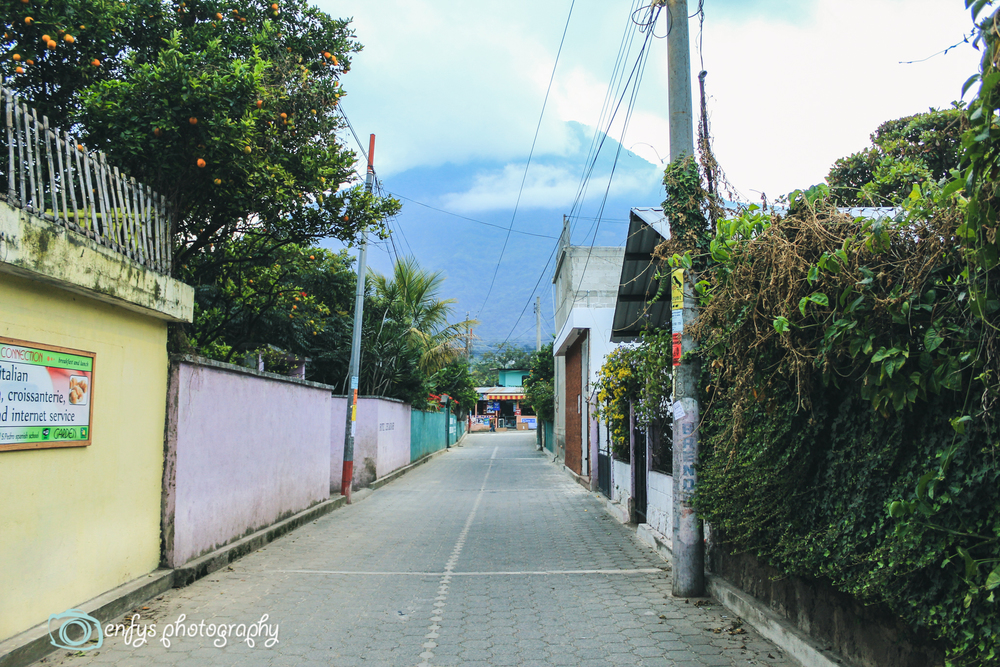 Streets of San Pedro with a volcano in the background  -San Pedro la Laguna, Guatemala