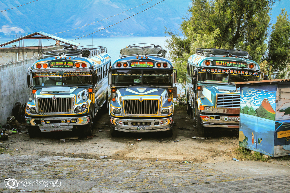 Chicken buses! (Click to enlarge) -San Pedro la Laguna, Guatemala