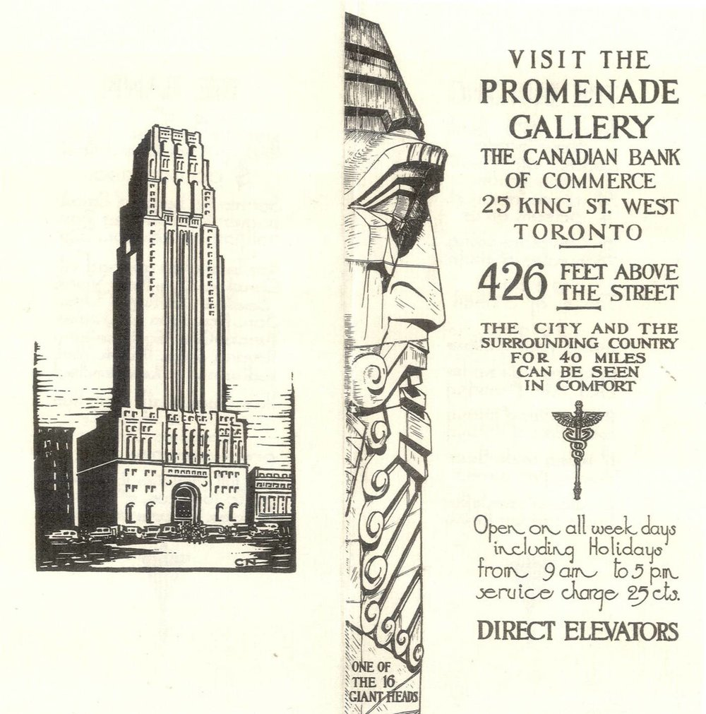 Brochure for the observation deck in the 1930s. Image courtesy of the CIBC Archives.