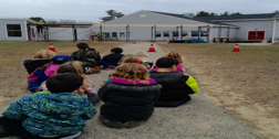 "It was great theater as our kindergarteners and first graders watched the construction of the new covered walk way.  This pathway will provide access from the Gym area over to the mudroom in the ""B"" and allow our students to get from building to building during the construction."