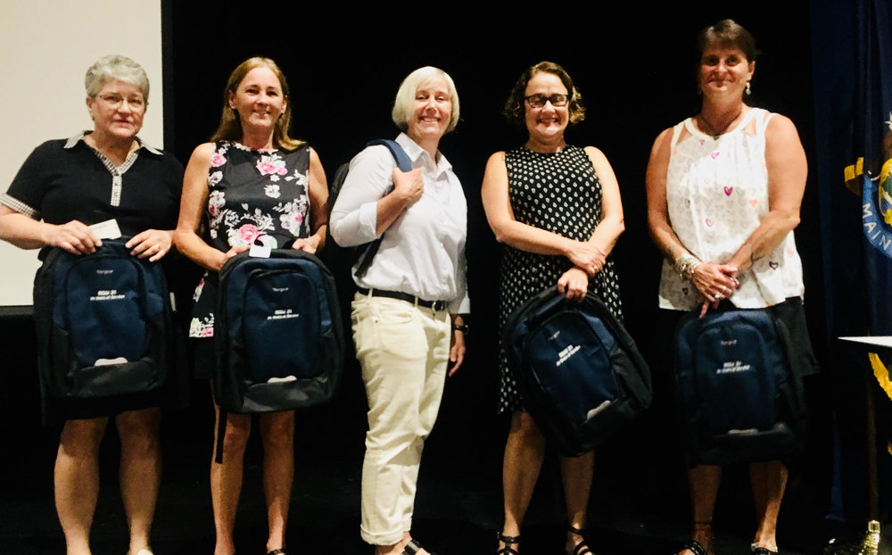 30 Years of Service to RSU 21  - Alyce Swan - Sherry Allen and Donna Lewia (not pictured) - Kathy Hirst - Mary Ellen Foley - Victoria Cherry - Jen French