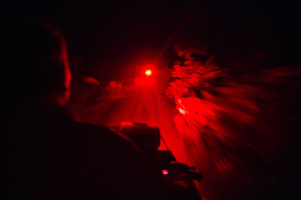 Michelle Sparks drives onto the beach, following fellow intern, Ivana Lezcano, on Thursday, July 20, 2017 on Keewaydin Island. The vehicles are equipped with red headlights. Lights can distract and disorient the baby sea turtles when they hatch. Red lights are less intrusive to the turtles.