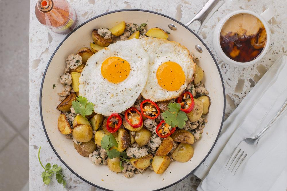Egg, Pork, Potato, & Pepper Hash