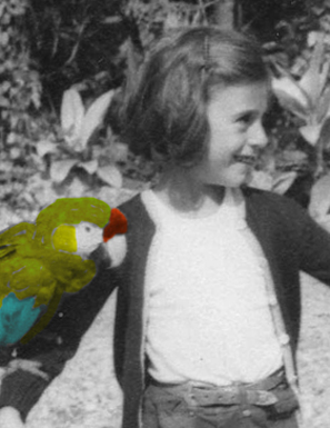 Wendy Morton with parrot.