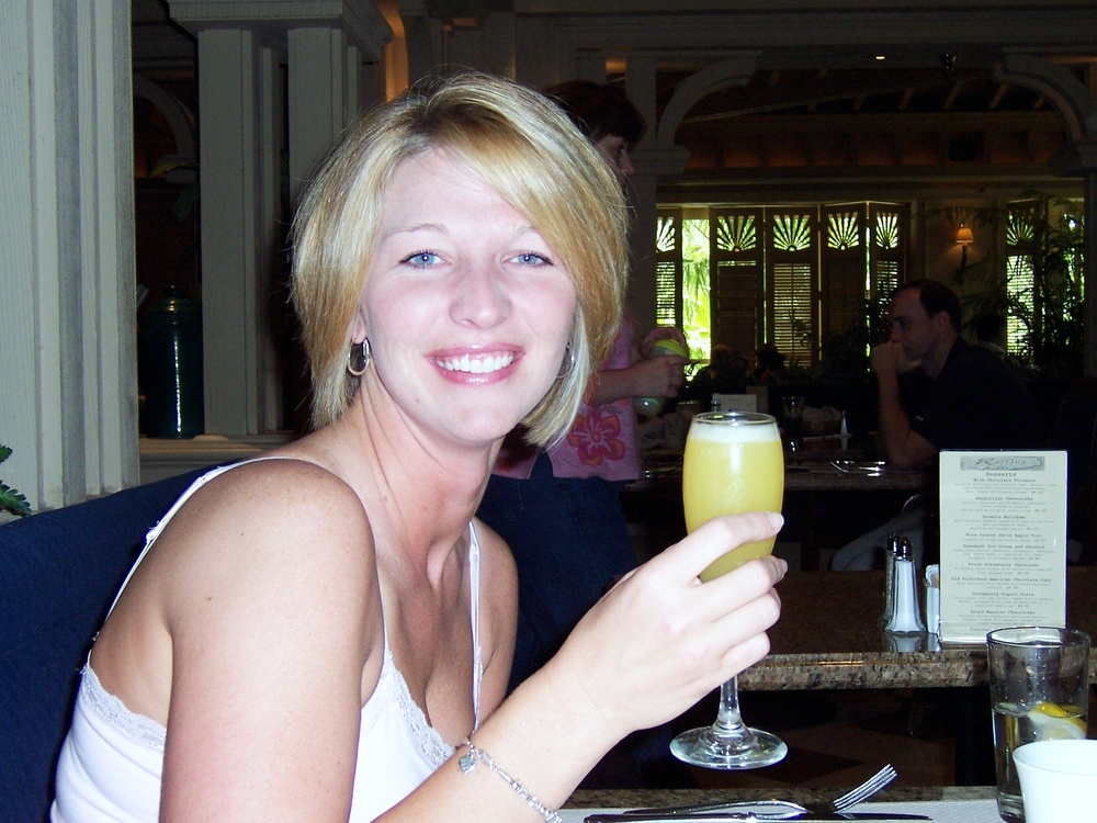 Diana - sipping a mimosa on the morning of my wedding. She held my hand & prayed over me on my wedding day…and 7 weeks later she did the same thing when she helped me through my Dad's suicide.