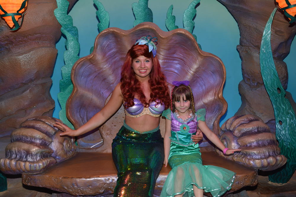 I see TWO Princess Ariels! Mermaid Ariel greeted us in her Grotto
