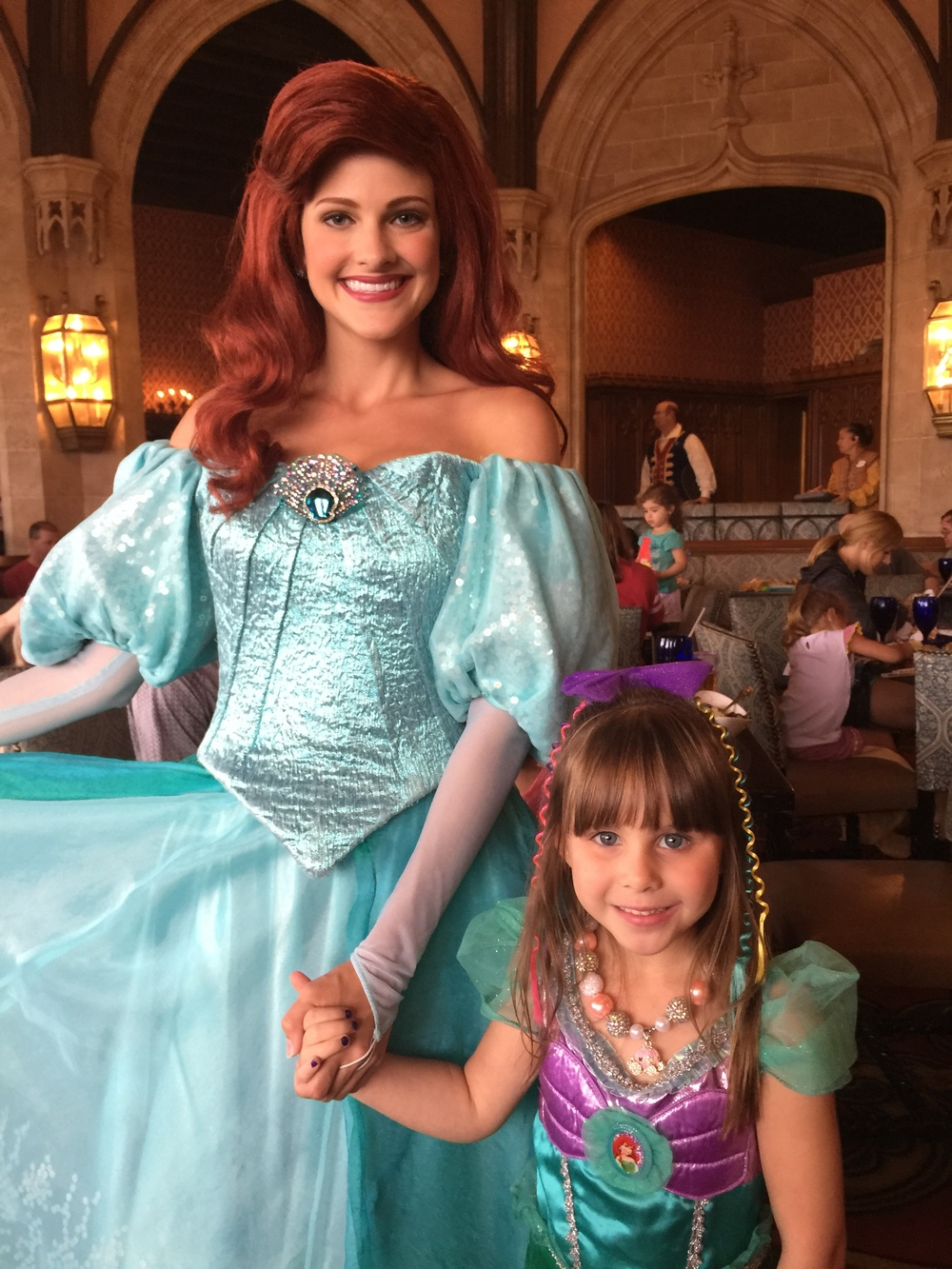We met human Ariel at Cinderella's Royal Table. Emery was speechless!