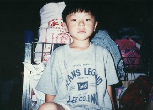 Little brother at the old Hong Kong airport in 1995