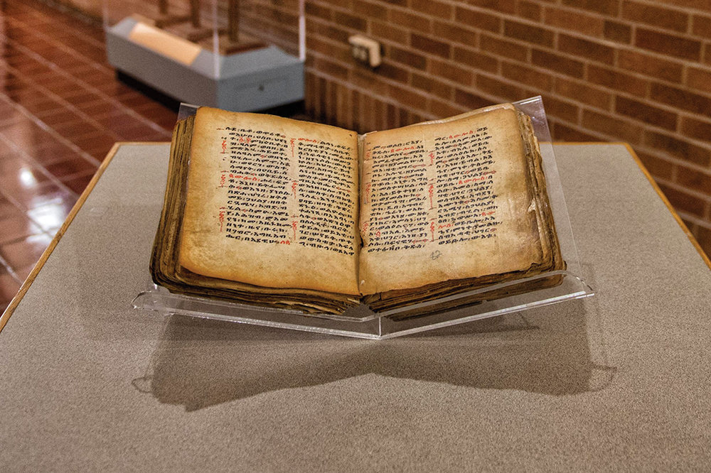 The Tweed MS150 manuscript was originally donated to Howard University Divinity School by the late Dr. André Tweed in 1993. The manuscript, which features the Acts of Paul and the Acts of Serabamon, was part of one of the largest U.S. collections of sacred Ethiopian artifacts.  Credit: Justin D. Knight/Howard University