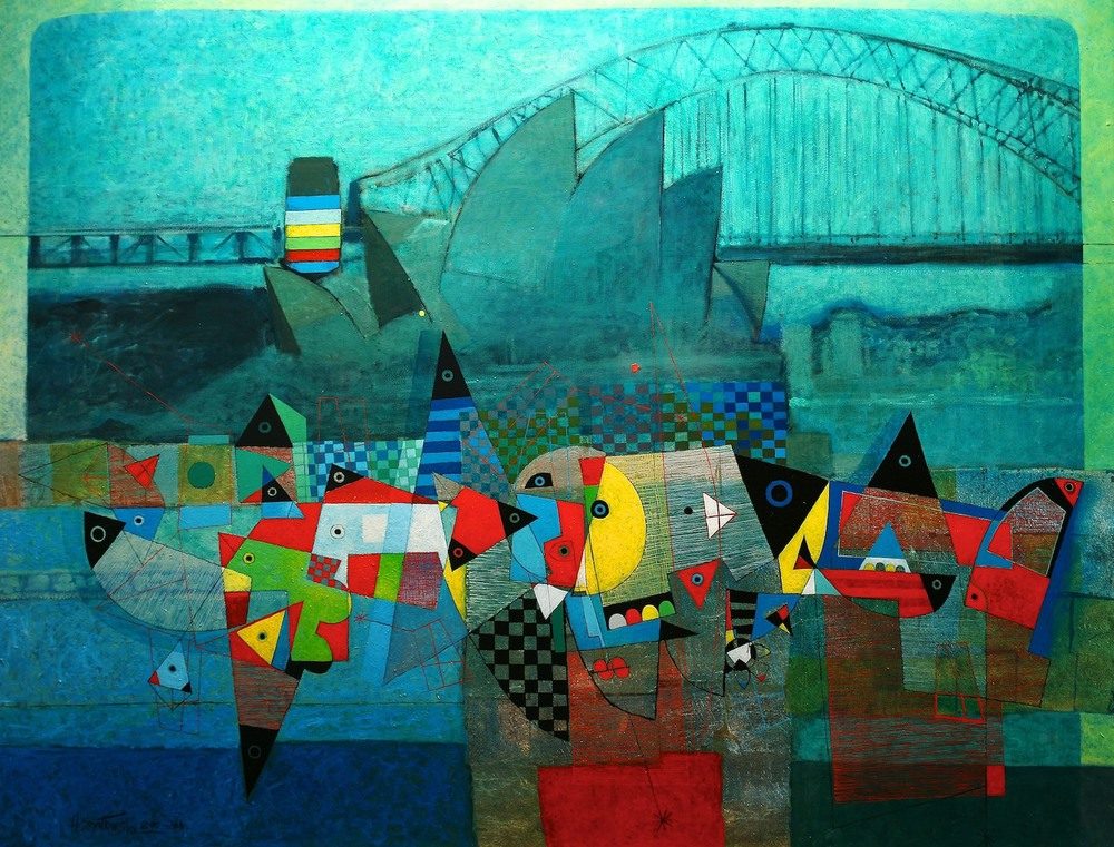 Henryk Szydlowski MAGICAL EVENING IN SYDNEY HARBOUR 170cm x 130cm Oil-2010-2011