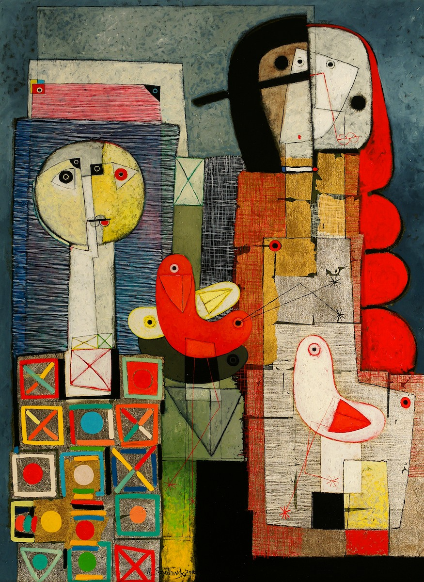 Henryk Szydlowsk FARMERS OF THE COLOURFUL BIRDS 120cm x 90cm Oil 2010