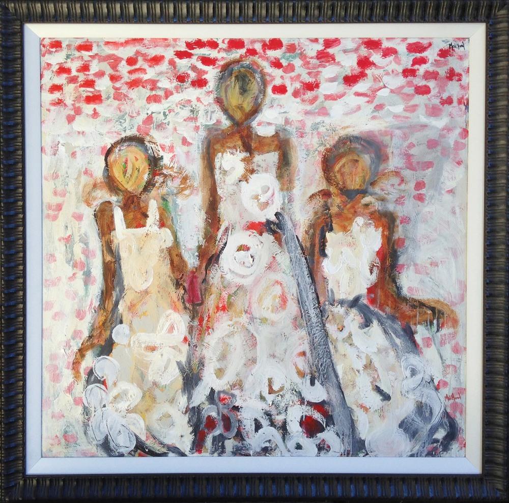 John Maitland 'Girls Picnic' 142cm x 142cm