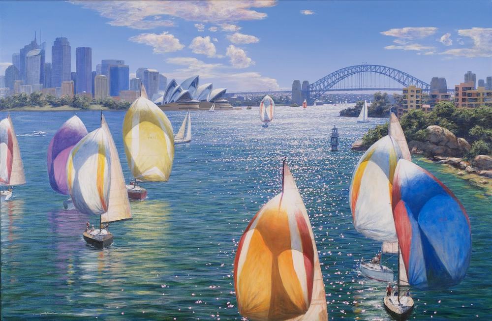 #13657 Falk Kautzner 'Sydney Sail and Sun' 80cm x 122cm