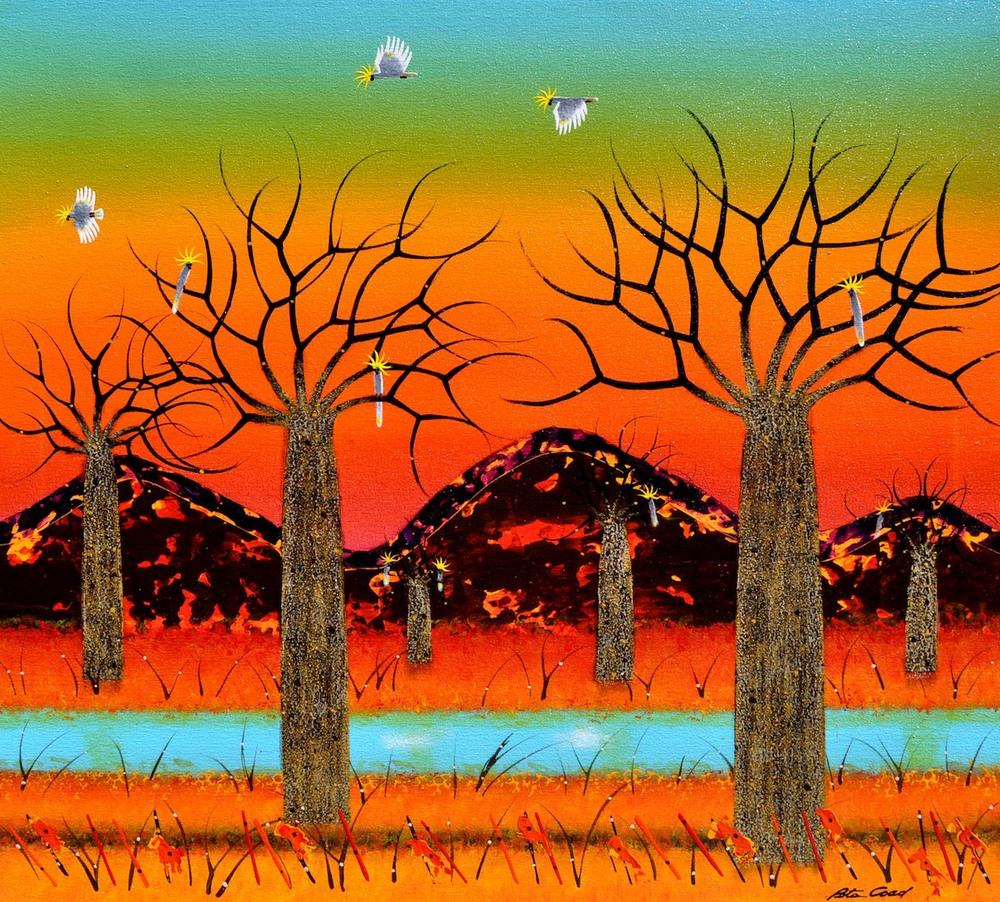 Summer Landscape - Kimberley 1 (Left part of diptych) 90 x 100cm Canvas