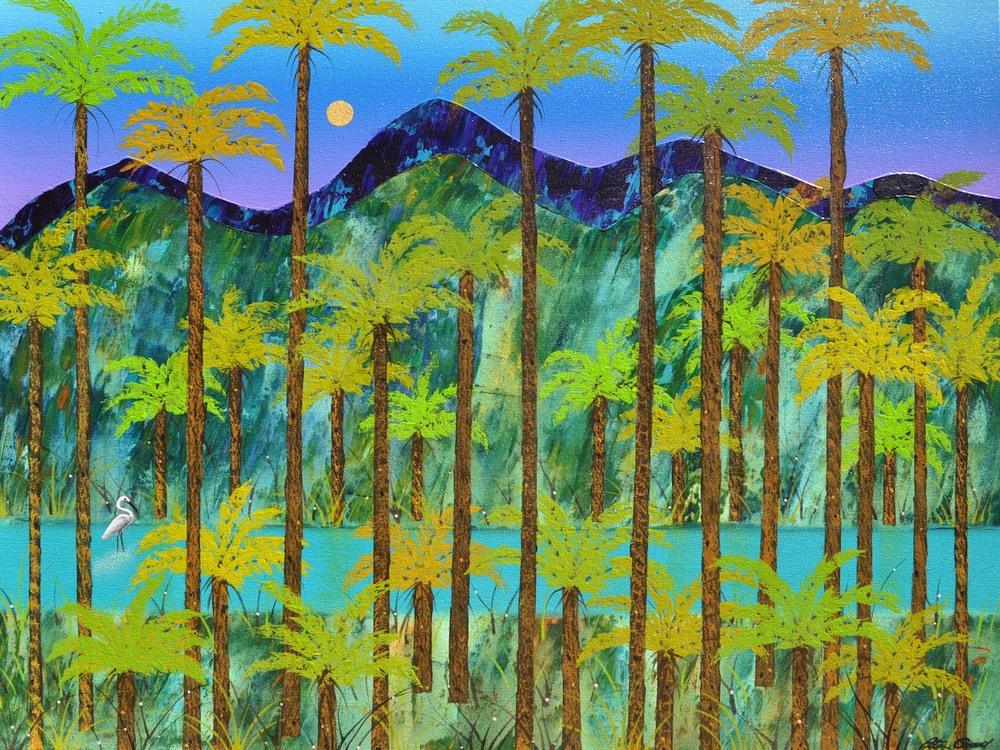 Egret and Tree Ferns Jamison Valley 90cm x 120cm canvas