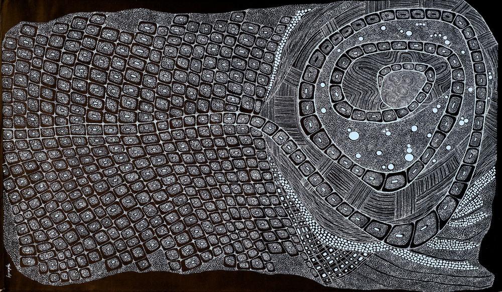 Helen McCarthy Tyalmuty 'Awurrapun Crocodile' 150cm x 90cm
