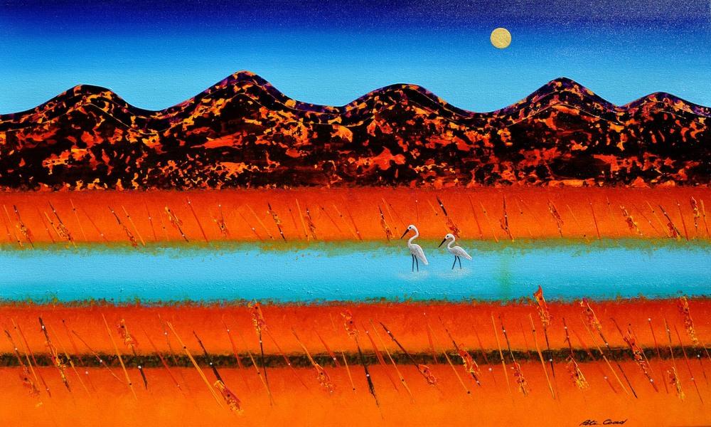 Waterbirds 90cm x 150cm Mixed Media on Canvas
