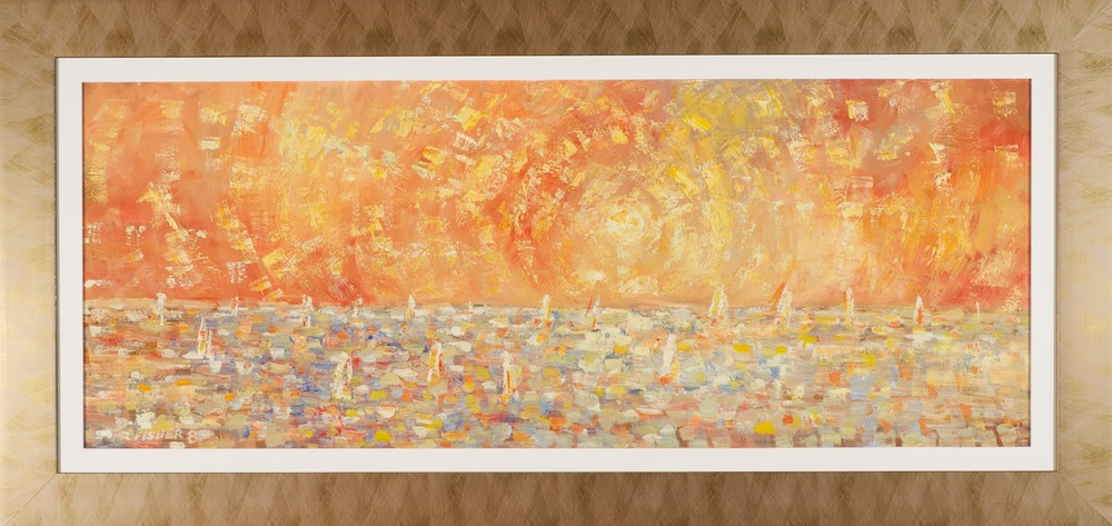 Robert Fisher 'Golden Seascape' 54cm x 112cm  #8301