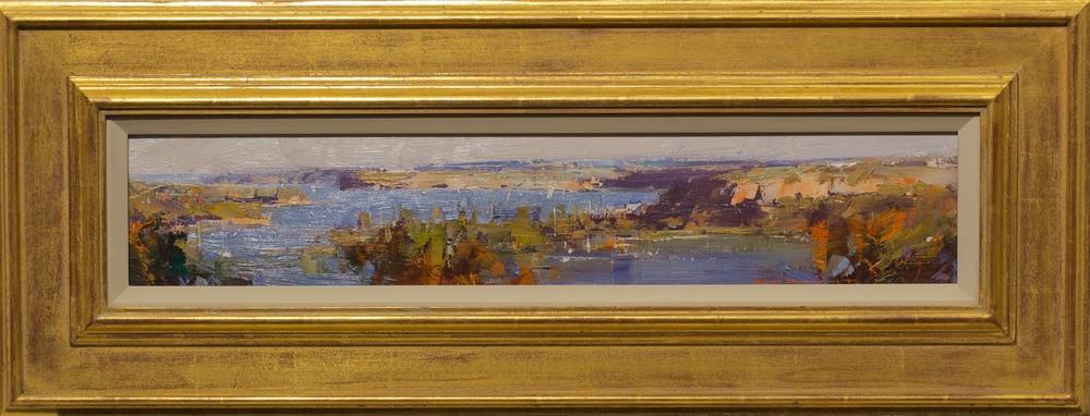 #14450 Ken Knight 'Sydney view from Seaforth' 30cm x 77cm Oil on Board $3800.jpg