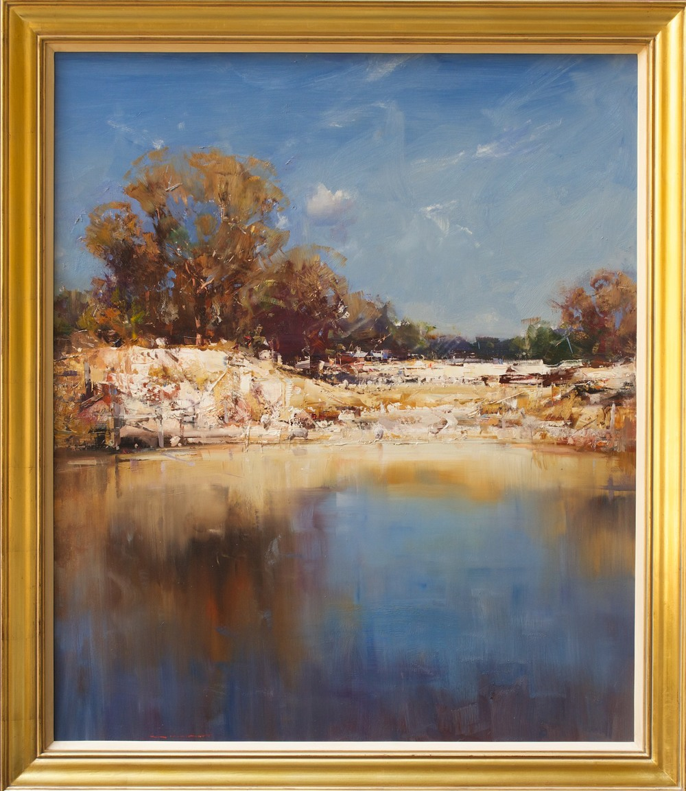 #14447 Ken Knight 'Sheep at the Waterhole' Oil on Board $16800.jpg