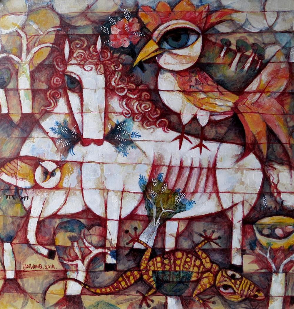 Wang Lan 'Horse & Bird' 2014. 61x61cm..jpg