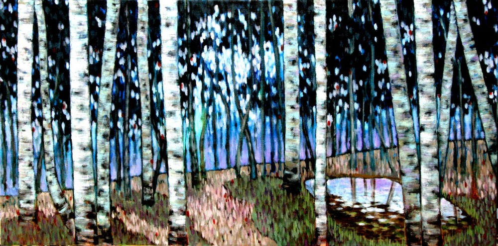 #14652 Haiou 'Birch1' 45cm x 90cm Oil on Canvas $1980