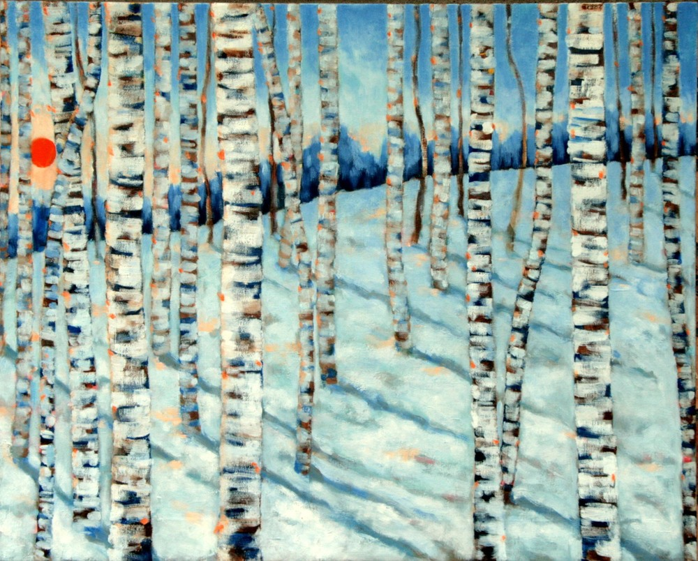 #14653 Haiou 'Birch 3' 56cm x 70cm Oil on Canvas $1780