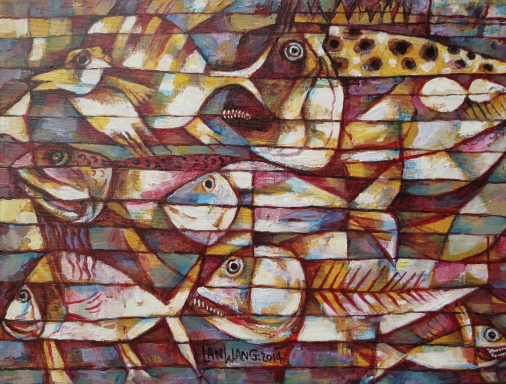 #14642 Wang Lan 'Fish No1' 2014. 48x38cm. Canvas $1380