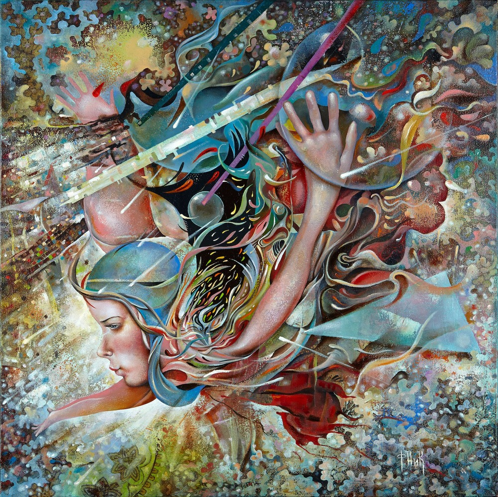 Nick Fedaeff 'Flight' Oil on Canvas 105 x 105cm #14682