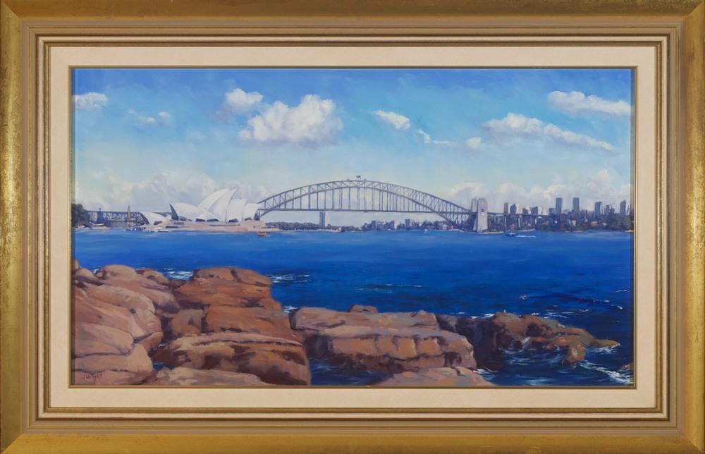 #3181. Jeffery Wright. Sydney Harbour. 57cm x 87cm. Was $2800 Now $980