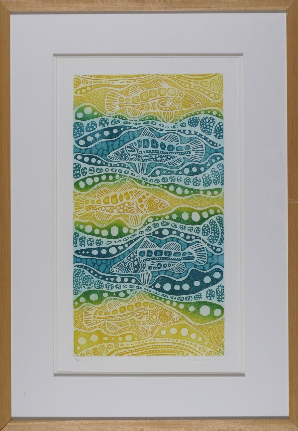 #4286. Marita Sambono. Barramundi. Etching on Paper. LE 10-20. 70cm x 49cm. Was $895 Now $447.50