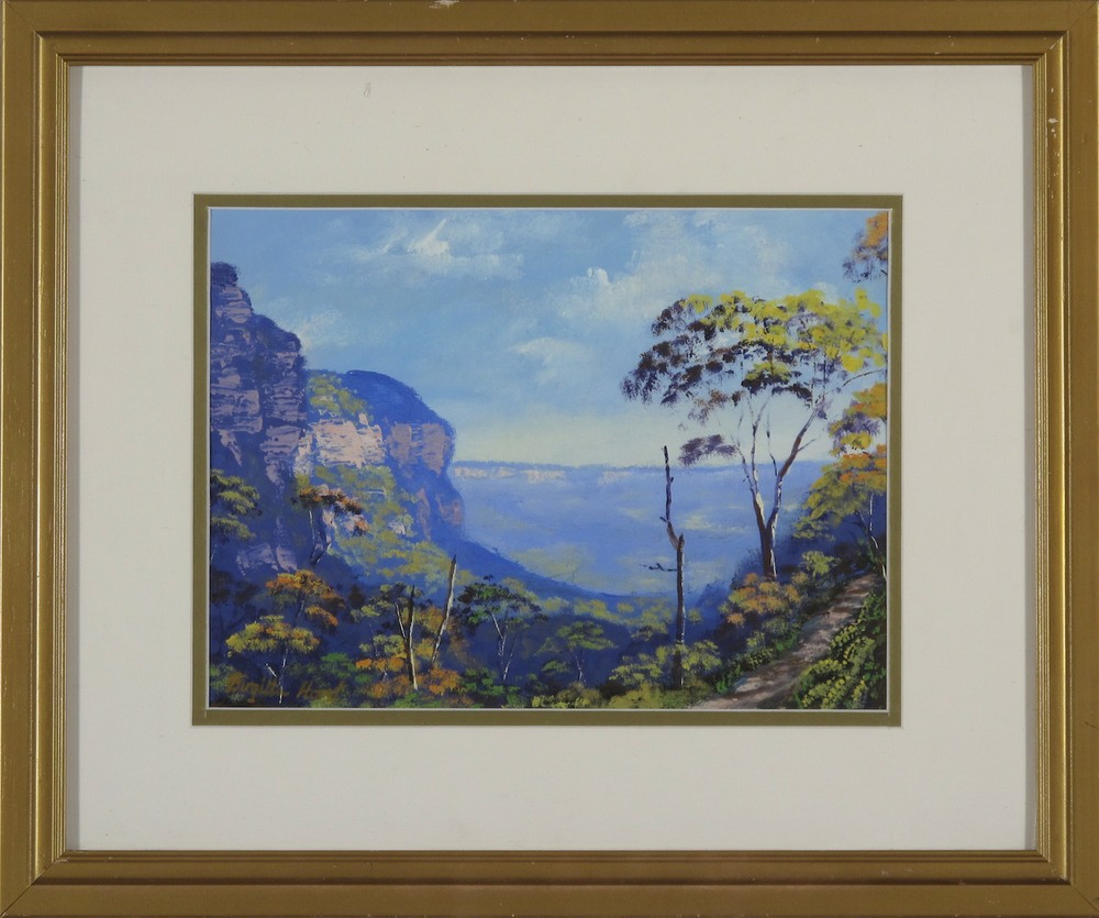 #9182. Brigitta Horst. Path to the Valley of Waters. 41cm x 50cm. Was $680 Now $340 (framed is damaged)