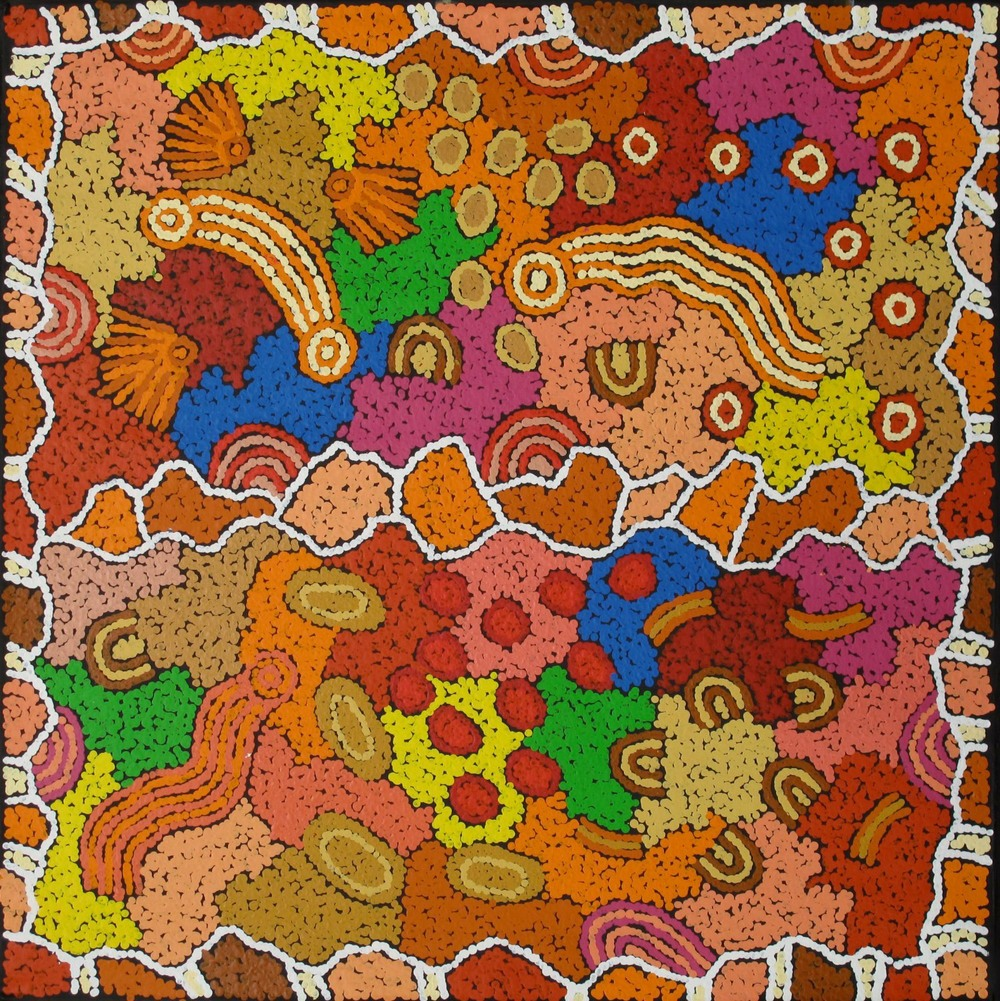 #10170. Damien and Yilpi Marks. My Country. 101cm x 101cm. Was $2800 Now $1680