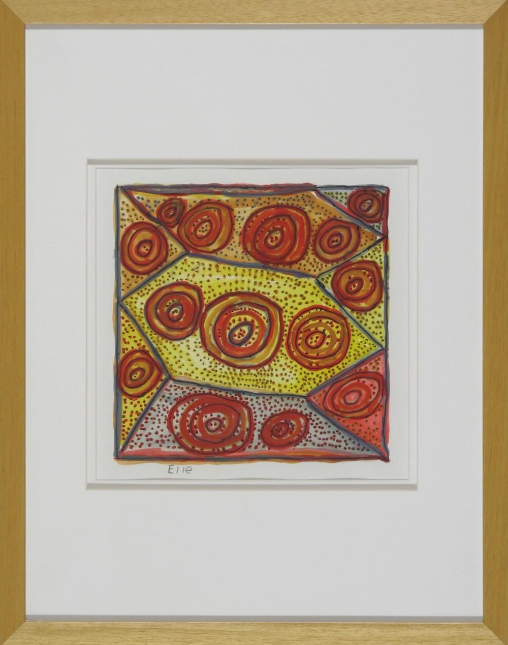 #12980. Estell Munkanome. Jilamara I. Original Painting on Paper 47cm x 37cm $380 $228