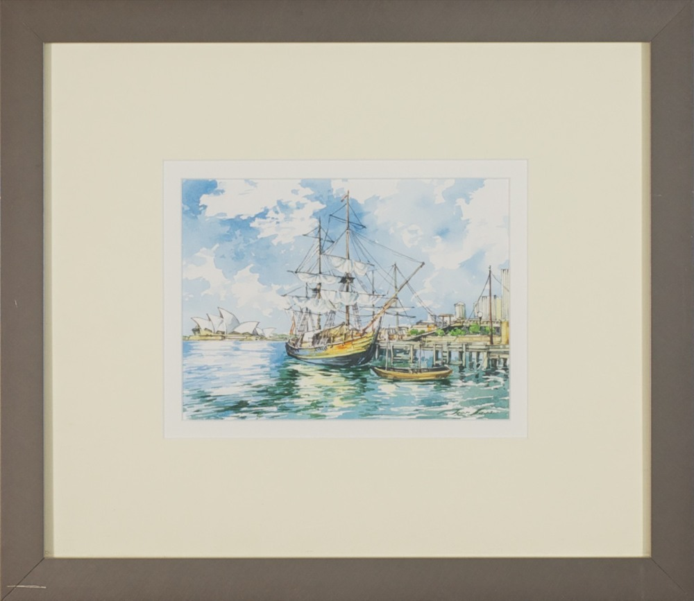 #13043. Tyer Sava. Sydney Harbour. Watercolour 40cm x 46cm. Was $700 Now $350