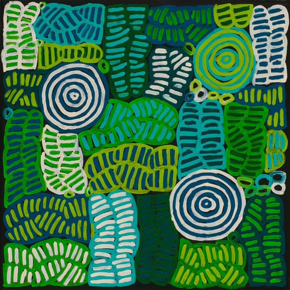 #13201 Betty Mbitjana 'Bush Melon and Awelye' 60cm x 60cm Was $700 Now $420