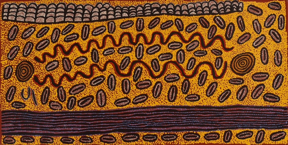 #13220 Ngoia Pollard 'Swamps at Talarada' 60cm x 120cm Was $2100 Now $1470