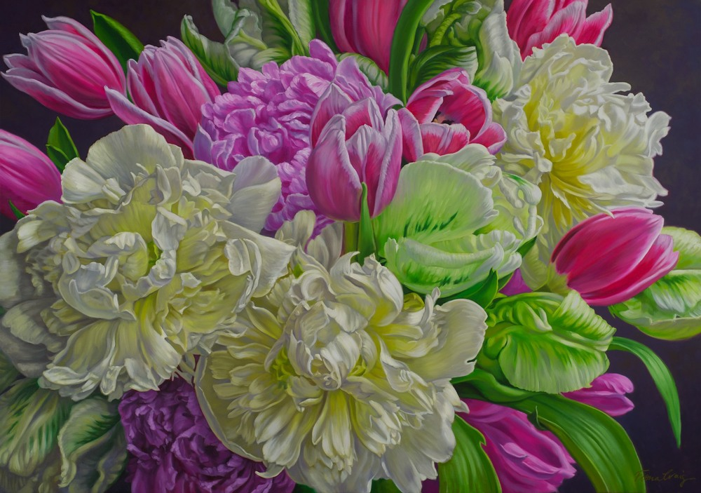 #13838 Fiona Craig 'White Peonies with Tulips' 97cm x 137cm Was $6,900 Now $6210