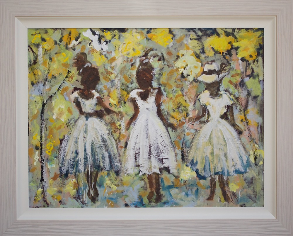 John Maitland 'Friends and Little Yellow Trees' 150cm x 120cm ( #14882)