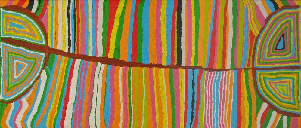 Judy Watson 'Mina Mina (Grass Skirt)' 100cm x 200cm#11101