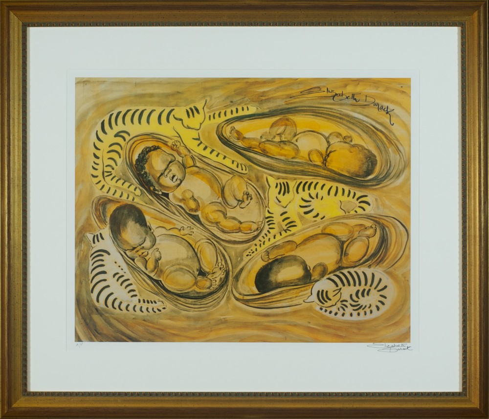 #13094 Elizabeth Durack. Cats and Cradles. Signed AP. 68cm x 80cm.