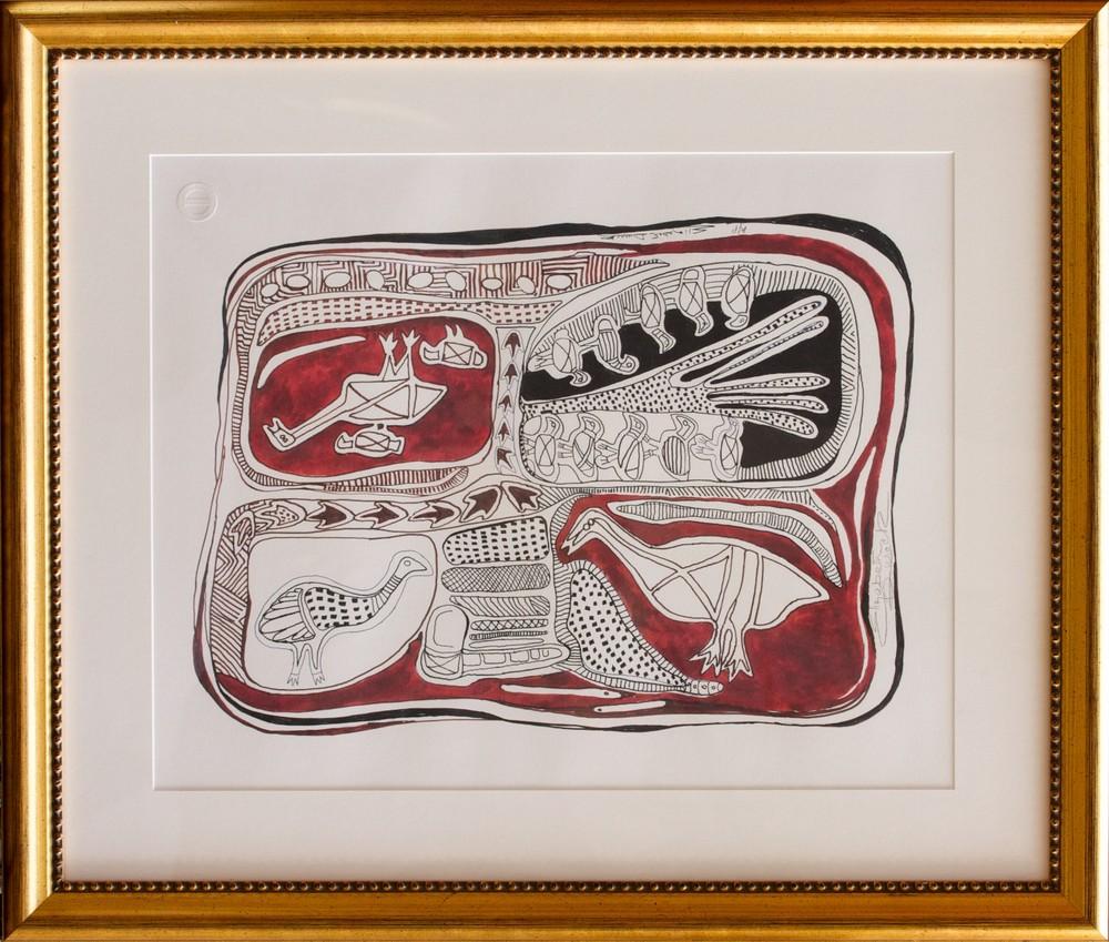 Elizabeth Durack 'The Emu and the Turkey'  59cm x 48cm (66cm x 79cm framed) Limited Edition of 299 - A/P