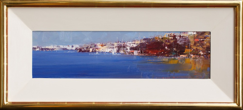 #14449 Ken Knight 'The Harbour Blue' Oil on Board 31cm x 68cm